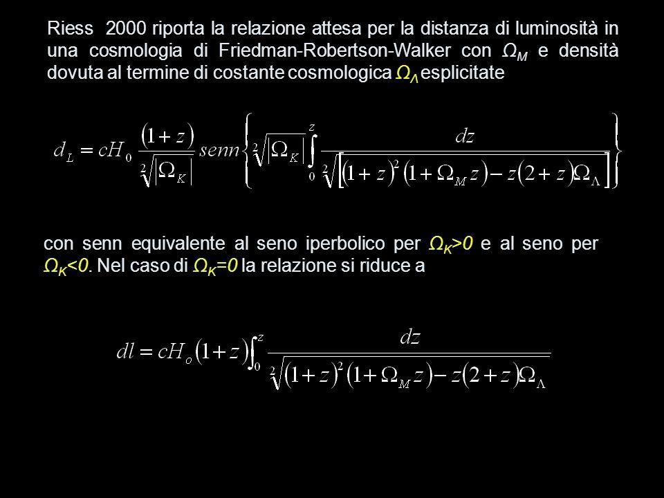 Riess 2000 riporta la relazione attesa per la distanza di luminosità in una cosmologia di Friedman-Robertson-Walker con ΩM e densità dovuta al termine di costante cosmologica ΩΛ esplicitate