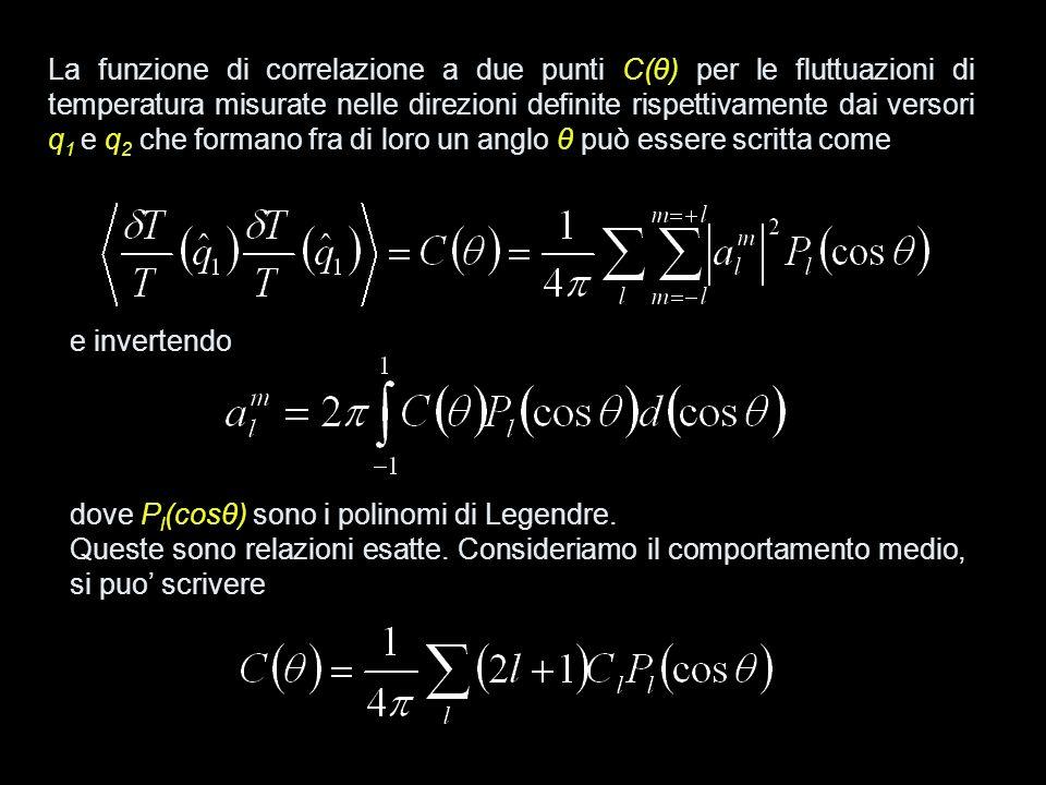 La funzione di correlazione a due punti C(θ) per le fluttuazioni di temperatura misurate nelle direzioni definite rispettivamente dai versori q1 e q2 che formano fra di loro un anglo θ può essere scritta come
