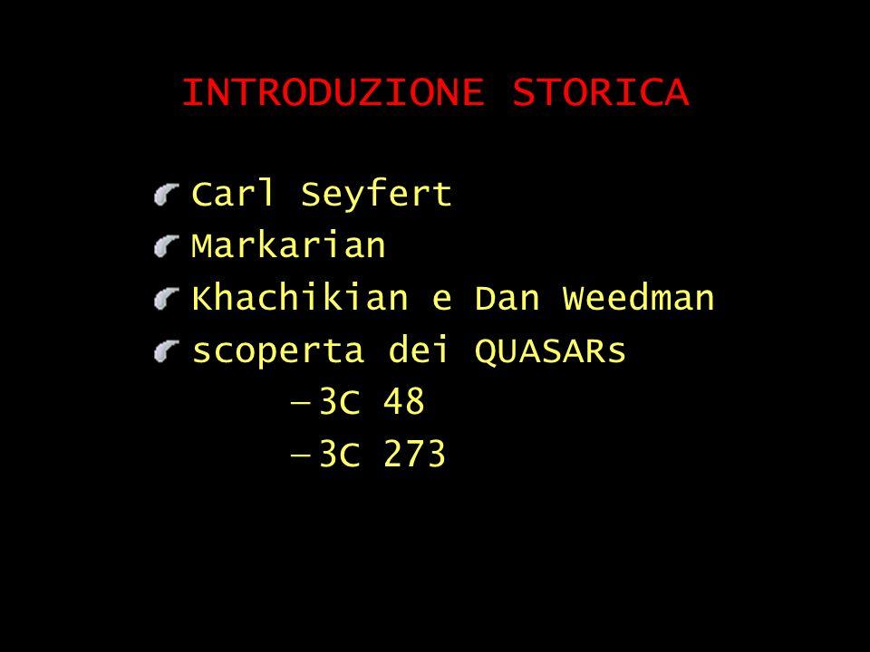 INTRODUZIONE STORICA Carl Seyfert Markarian Khachikian e Dan Weedman