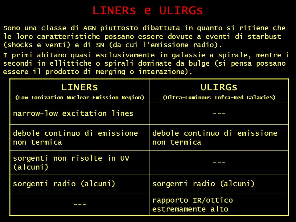 LINERs e ULIRGs LINERs ULIRGs narrow-low excitation lines ---