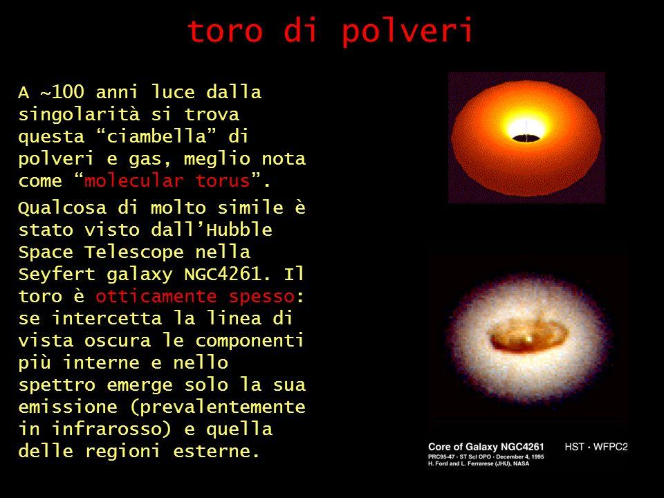 toro di polveri A ~100 anni luce dalla singolarità si trova questa ciambella di polveri e gas, meglio nota come molecular torus .