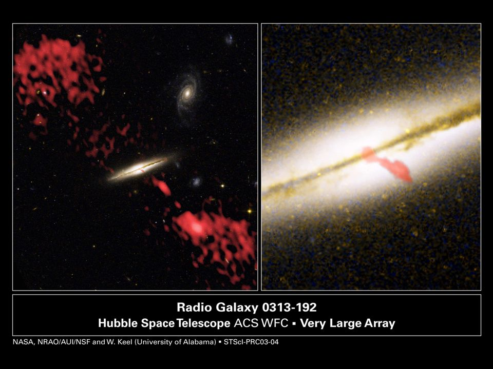 These are composite images of the galaxy 0313-192, the first spiral galaxy known to be producing a giant radio-emitting jet. The image at left represents two views of the galaxy that astronomers have combined into one photograph. The view of the galaxy and its surrounding environment was taken by the Hubble Space Telescope s Advanced Camera for Surveys. The red material in the image represents the radio-emitting jet, which was taken by the Very Large Array. The galaxy is seen edge-on. At right is a close-up of the Hubble telescope image. Another red overlay from a higher-resolution Very Large Array picture shows the inner portion of the jet.