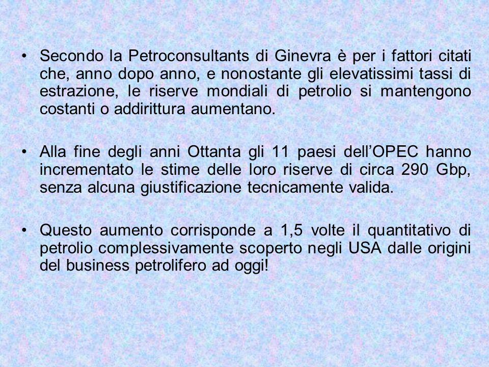 Secondo la Petroconsultants di Ginevra è per i fattori citati che, anno dopo anno, e nonostante gli elevatissimi tassi di estrazione, le riserve mondiali di petrolio si mantengono costanti o addirittura aumentano.