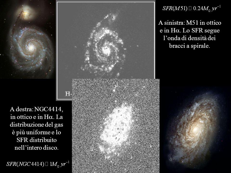 A sinistra: M51 in ottico e in Ha