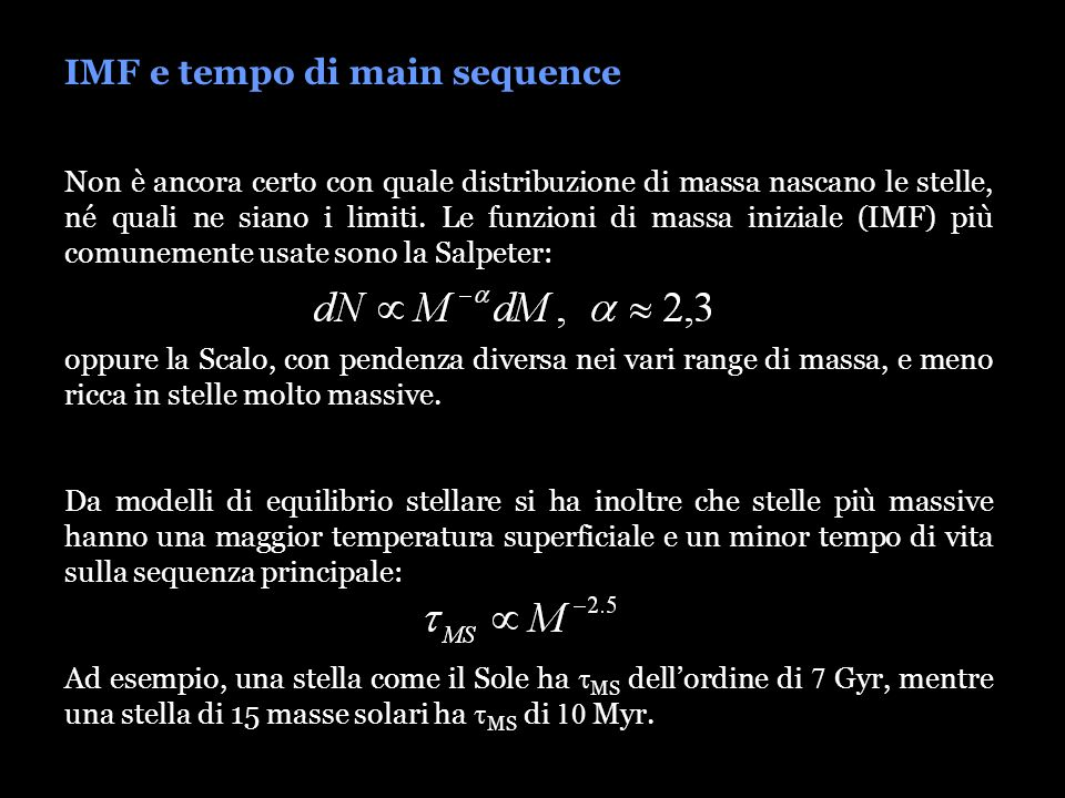 IMF e tempo di main sequence