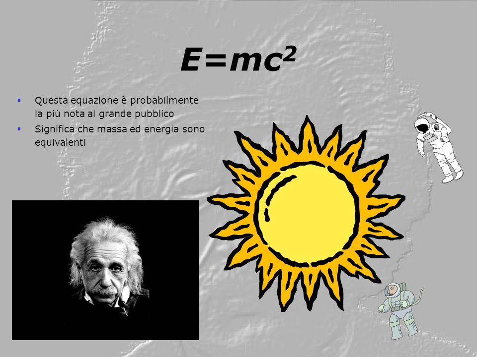 E=mc2 Questa equazione è probabilmente la più nota al grande pubblico