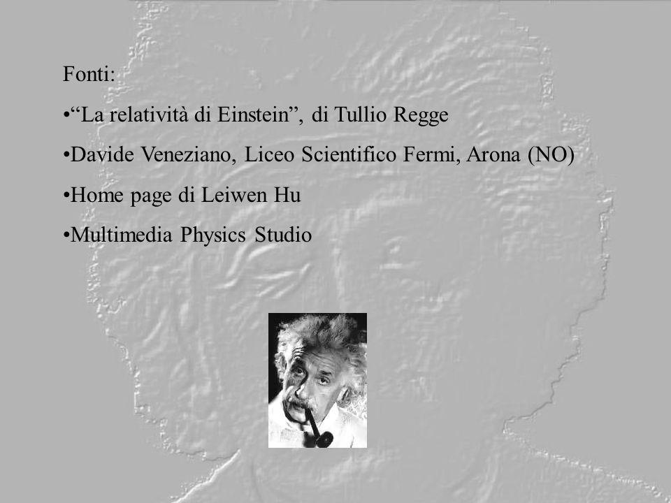 Fonti: La relatività di Einstein , di Tullio Regge. Davide Veneziano, Liceo Scientifico Fermi, Arona (NO)