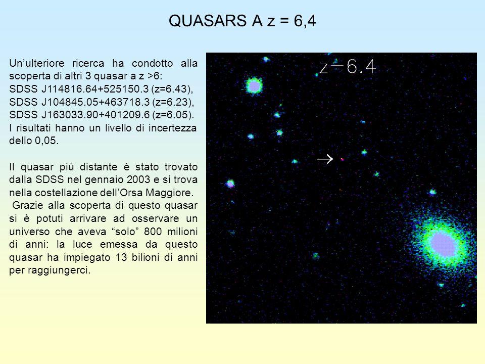 QUASARS A z = 6,4 Un'ulteriore ricerca ha condotto alla scoperta di altri 3 quasar a z >6: SDSS J114816.64+525150.3 (z=6.43),