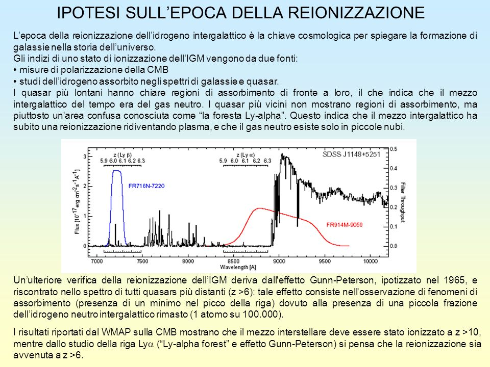 IPOTESI SULL'EPOCA DELLA REIONIZZAZIONE