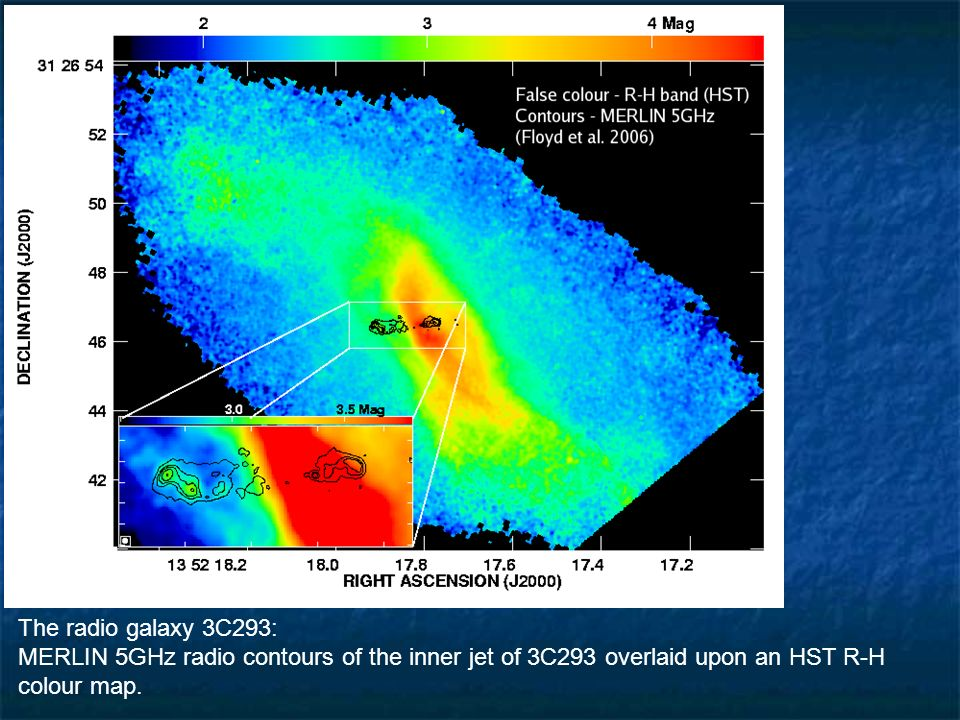 The radio galaxy 3C293: MERLIN 5GHz radio contours of the inner jet of 3C293 overlaid upon an HST R-H colour map.