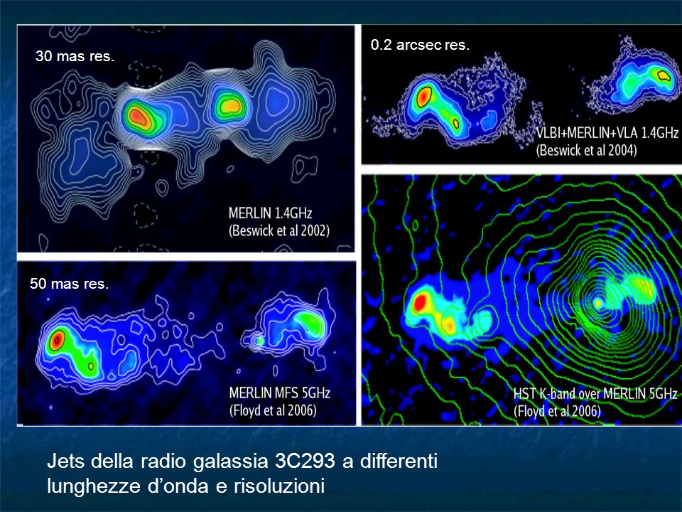Jets della radio galassia 3C293 a differenti