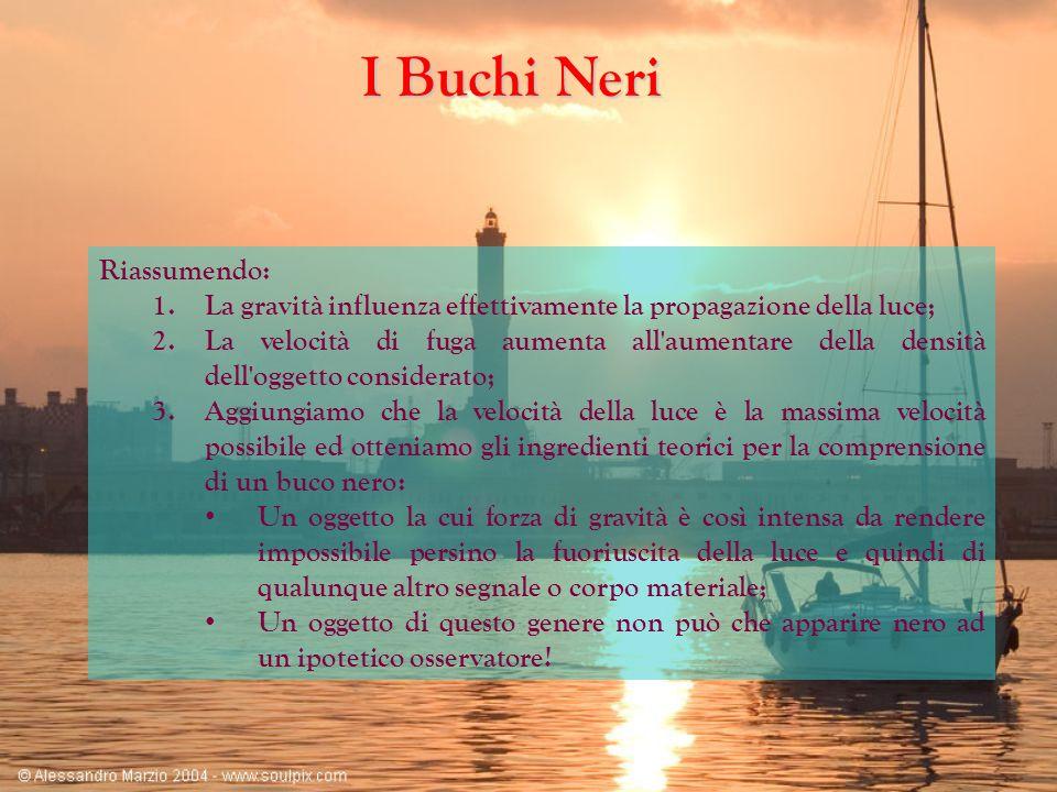 I Buchi Neri Riassumendo: