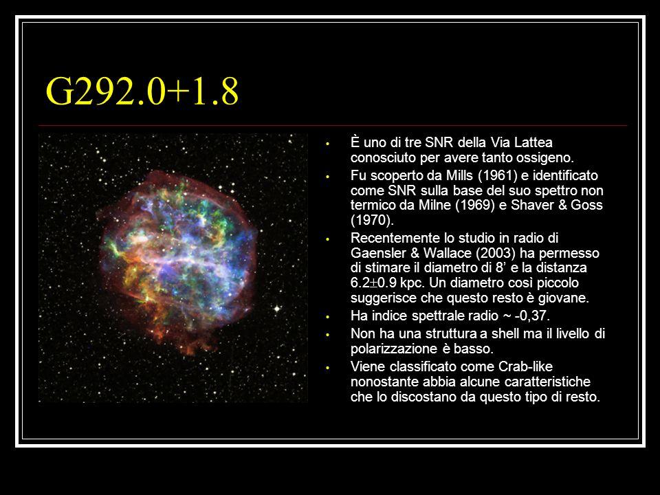 G292.0+1.8 È uno di tre SNR della Via Lattea conosciuto per avere tanto ossigeno.
