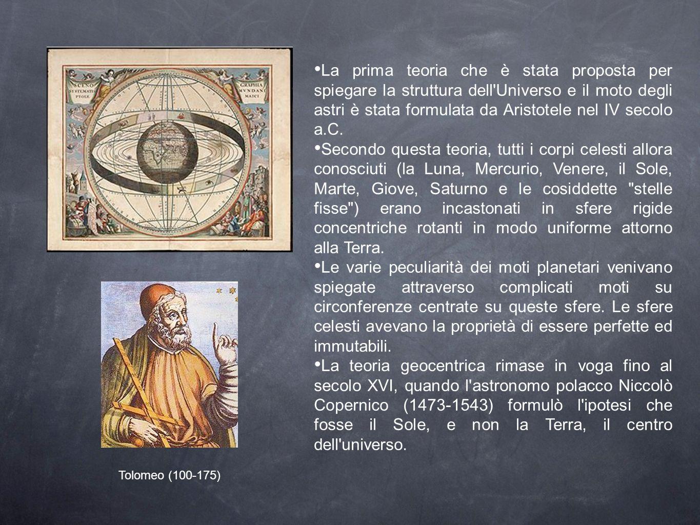La prima teoria che è stata proposta per spiegare la struttura dell Universo e il moto degli astri è stata formulata da Aristotele nel IV secolo a.C.