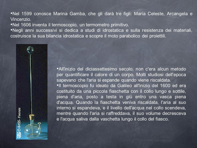 Nel 1599 conosce Marina Gamba, che gli darà tre figli: Maria Celeste, Arcangela e Vincenzio.