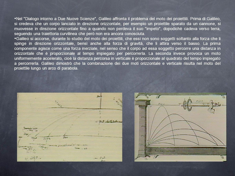 Nel Dialogo intorno a Due Nuove Scienze , Galileo affronta il problema del moto dei proiettili. Prima di Galileo, si credeva che un corpo lanciato in direzione orizzontale, per esempio un proiettile sparato da un cannone, si muovesse in direzione orizzontale fino a quando non perdeva il suo impeto , dopodichè cadeva verso terra, seguendo una traiettoria curvilinea che però non era ancora conosciuta.