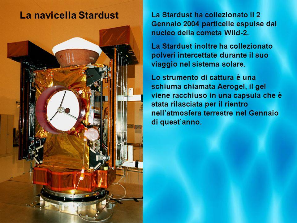 La navicella Stardust La Stardust ha collezionato il 2 Gennaio 2004 particelle espulse dal nucleo della cometa Wild-2.
