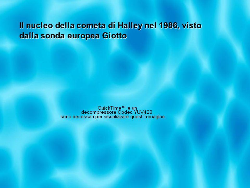 Il nucleo della cometa di Halley nel 1986, visto dalla sonda europea Giotto