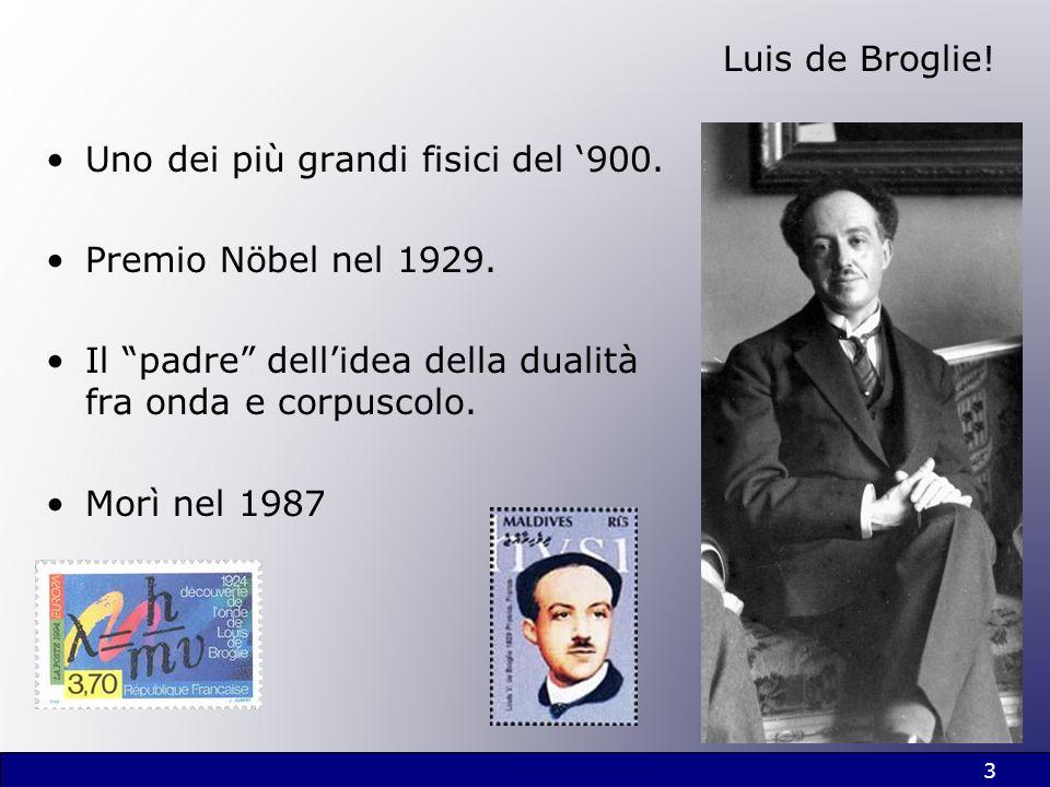 Luis de Broglie! Uno dei più grandi fisici del '900. Premio Nöbel nel 1929. Il padre dell'idea della dualità fra onda e corpuscolo.
