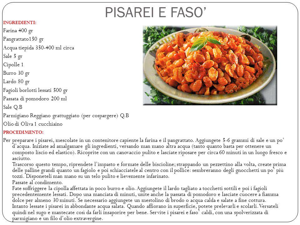PISAREI E FASO' Farina 400 gr Pangrattato150 gr