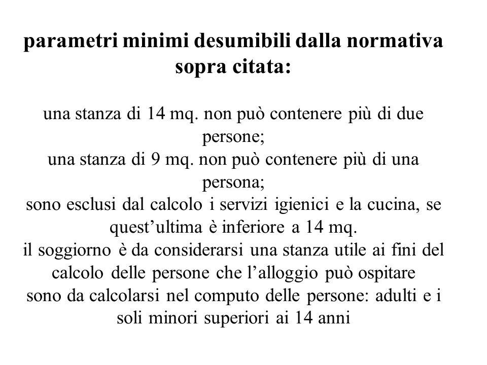 parametri minimi desumibili dalla normativa sopra citata: una stanza di 14 mq.