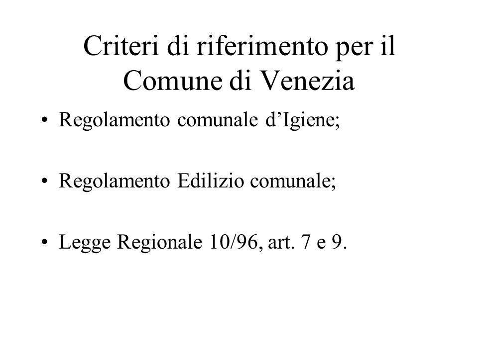 Criteri di riferimento per il Comune di Venezia