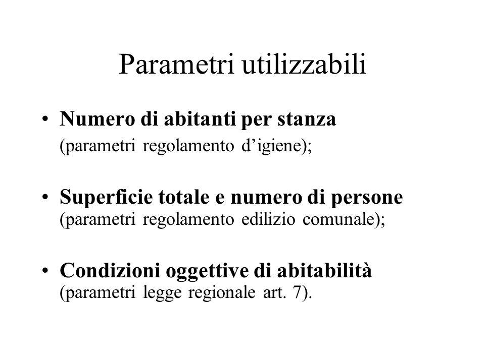 Parametri utilizzabili