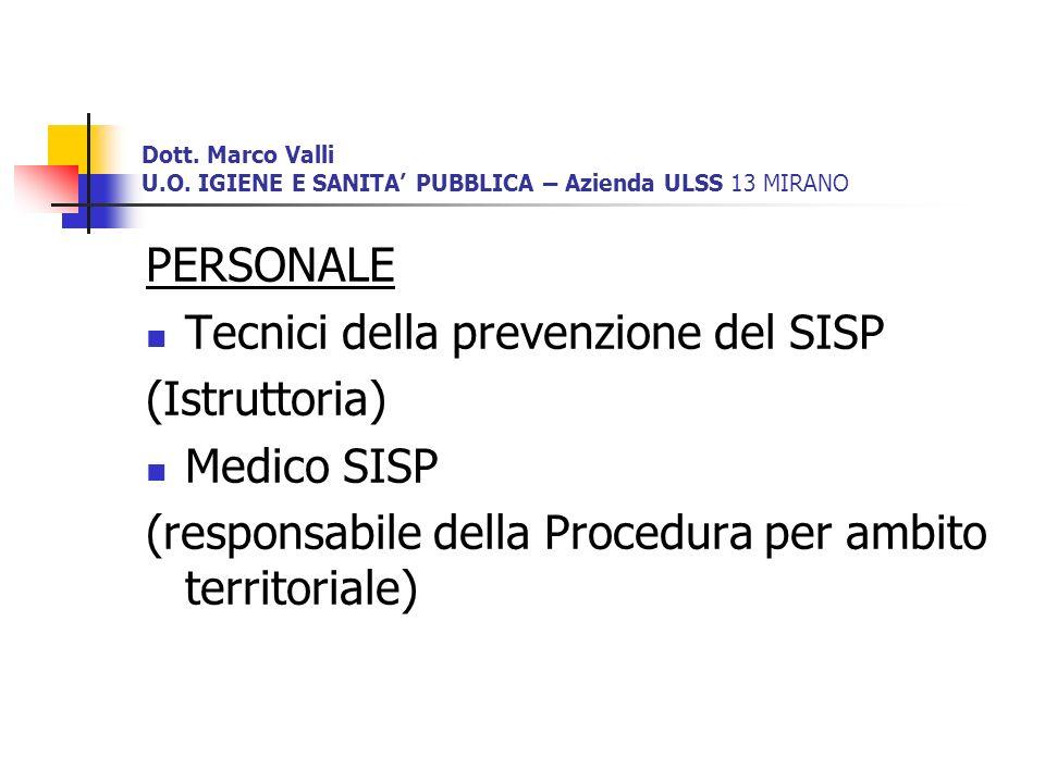 Tecnici della prevenzione del SISP (Istruttoria) Medico SISP