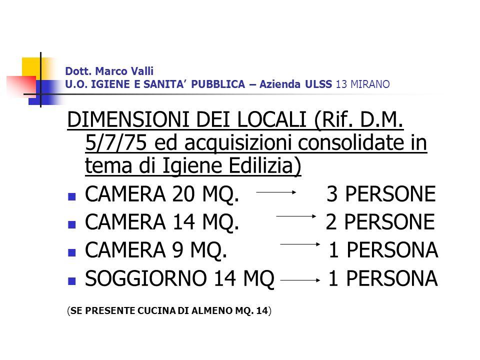 Dott. Marco Valli U.O. IGIENE E SANITA' PUBBLICA – Azienda ULSS 13 MIRANO