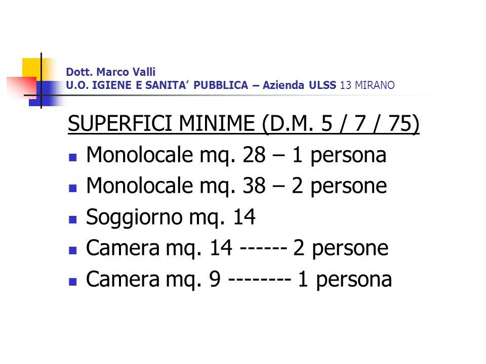 SUPERFICI MINIME (D.M. 5 / 7 / 75) Monolocale mq. 28 – 1 persona