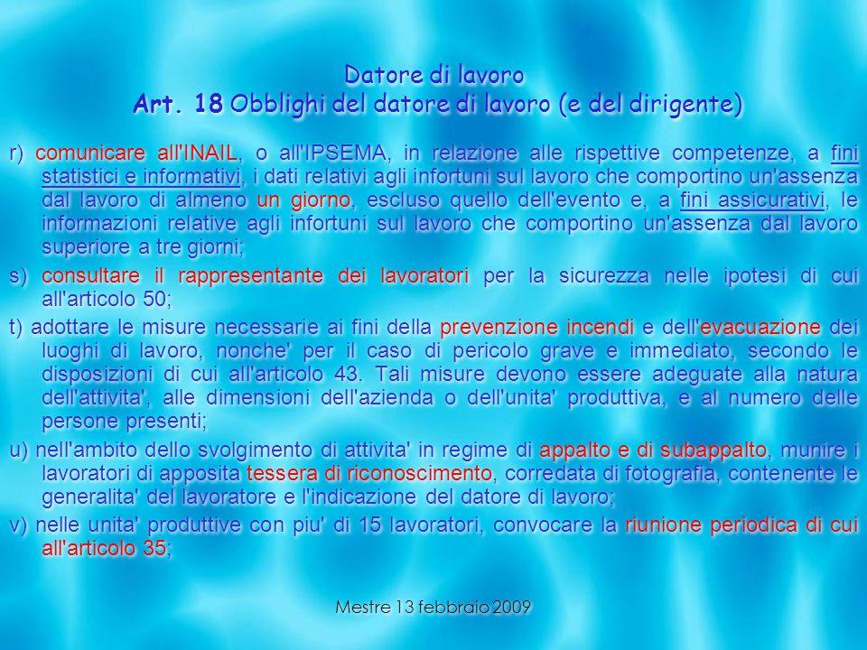 Datore di lavoro Art. 18 Obblighi del datore di lavoro (e del dirigente)