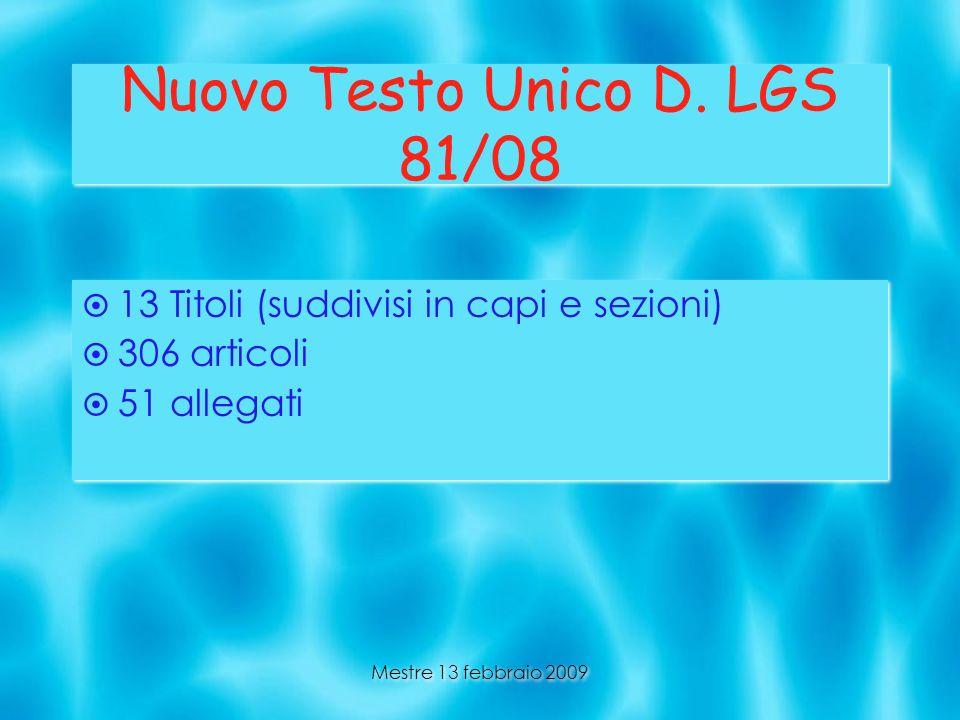 Nuovo Testo Unico D. LGS 81/08