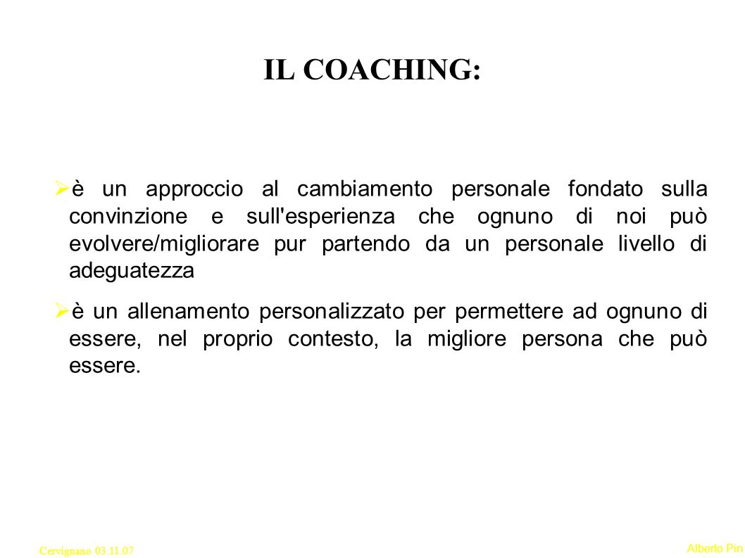IL COACHING: