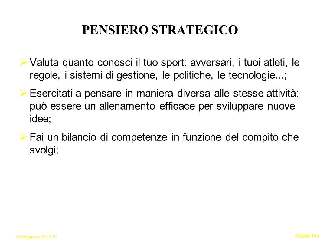 PENSIERO STRATEGICO Valuta quanto conosci il tuo sport: avversari, i tuoi atleti, le regole, i sistemi di gestione, le politiche, le tecnologie...;