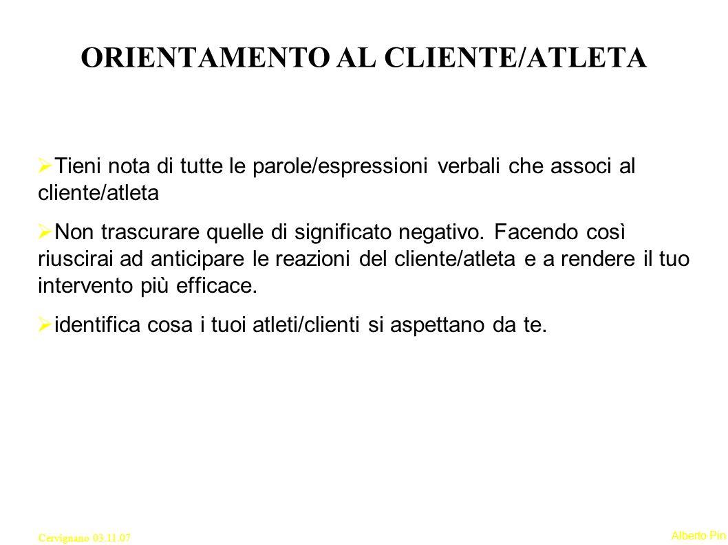 ORIENTAMENTO AL CLIENTE/ATLETA
