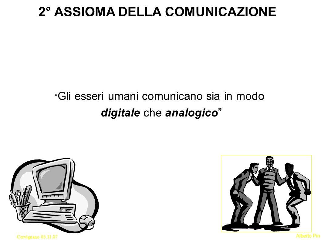 2° ASSIOMA DELLA COMUNICAZIONE