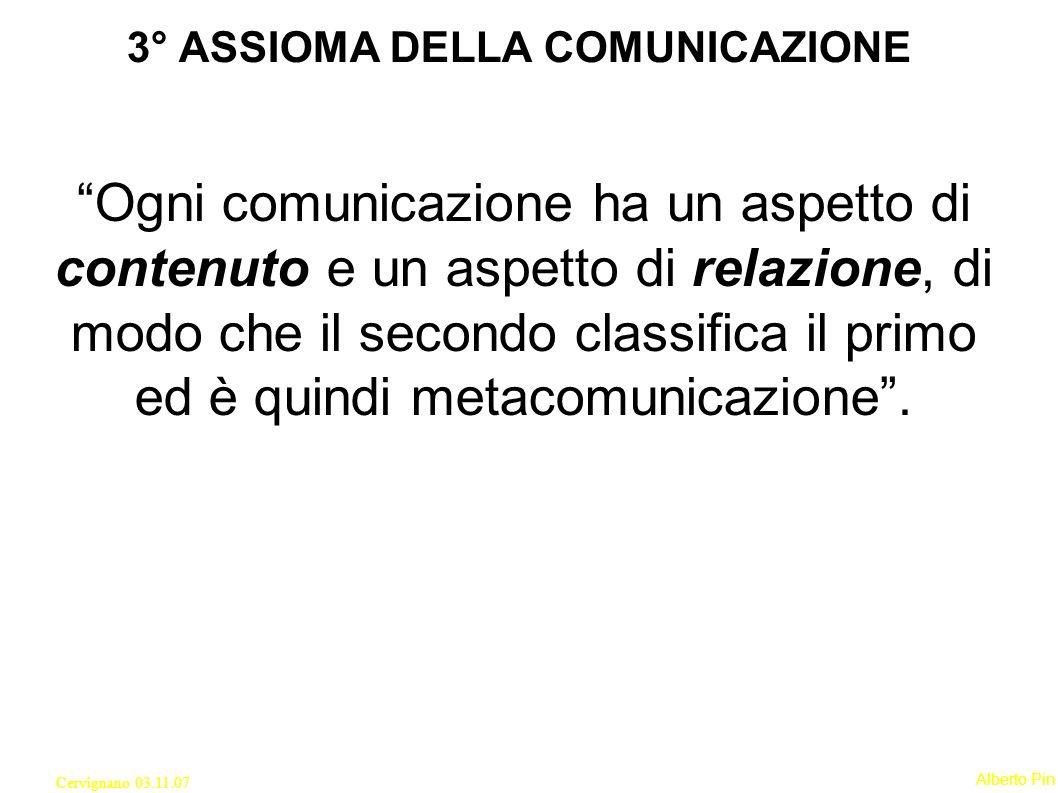 3° ASSIOMA DELLA COMUNICAZIONE