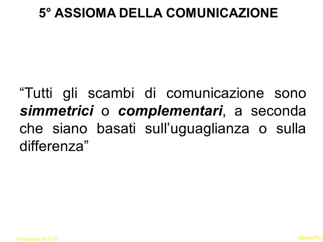 5° ASSIOMA DELLA COMUNICAZIONE