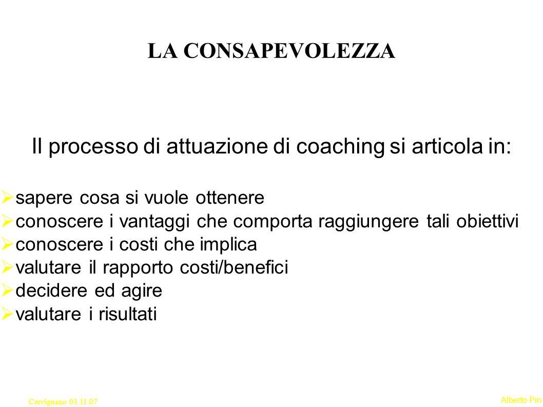 Il processo di attuazione di coaching si articola in: