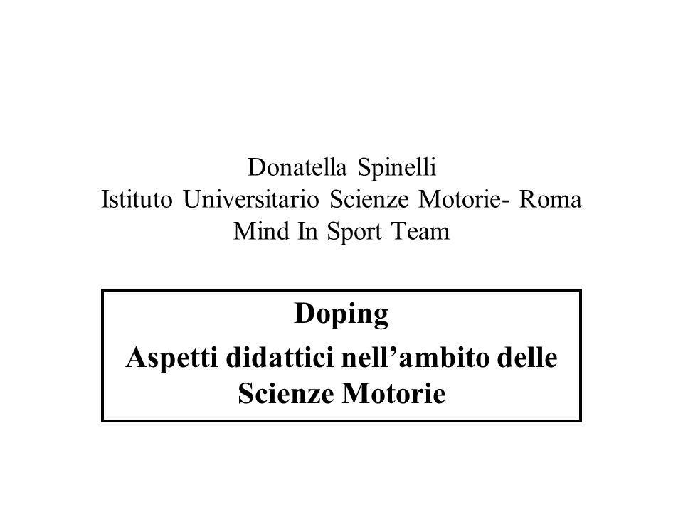 Doping Aspetti didattici nell'ambito delle Scienze Motorie