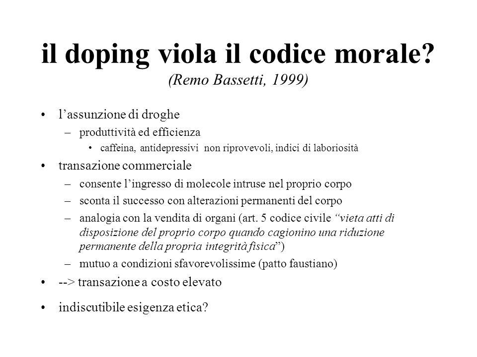 il doping viola il codice morale (Remo Bassetti, 1999)