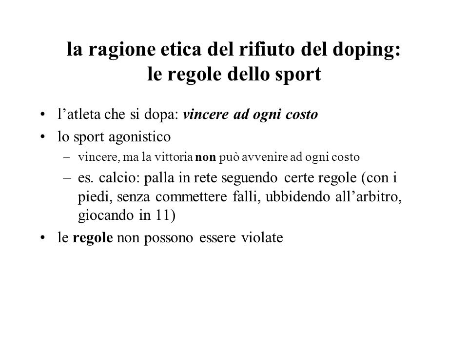 la ragione etica del rifiuto del doping: le regole dello sport