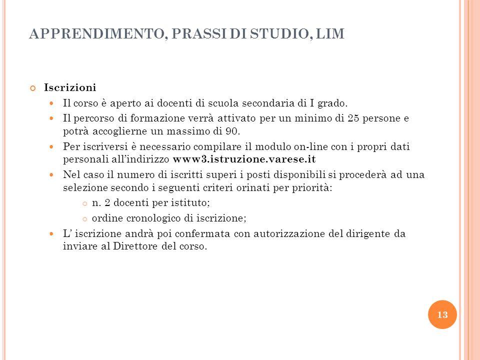 APPRENDIMENTO, PRASSI DI STUDIO, LIM