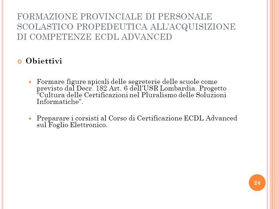 FORMAZIONE PROVINCIALE DI PERSONALE SCOLASTICO PROPEDEUTICA ALL'ACQUISIZIONE DI COMPETENZE ECDL ADVANCED