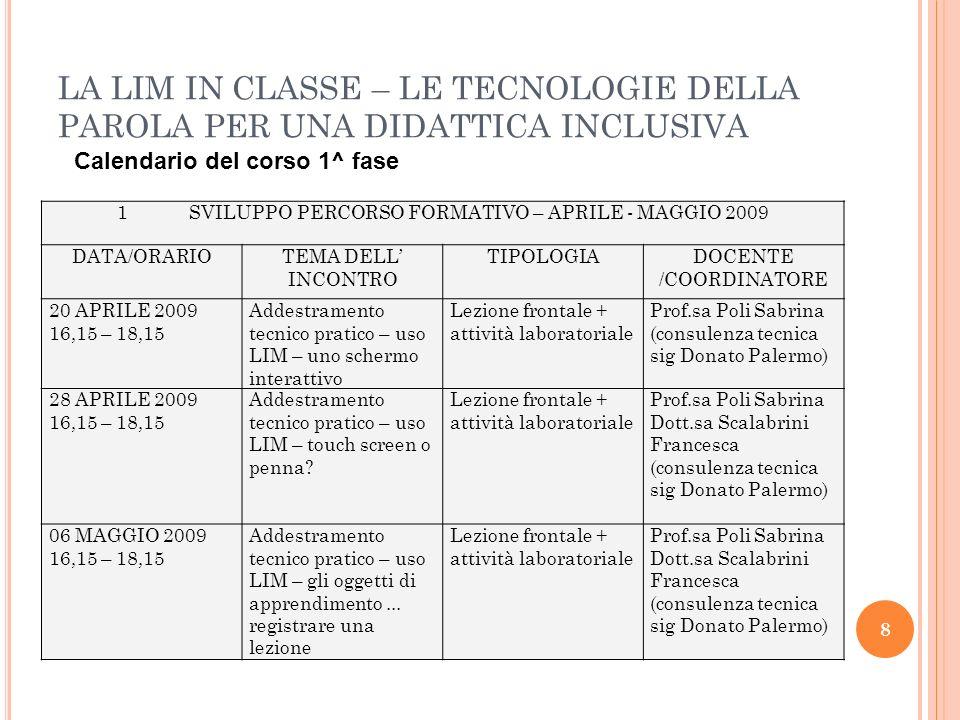 LA LIM IN CLASSE – LE TECNOLOGIE DELLA PAROLA PER UNA DIDATTICA INCLUSIVA