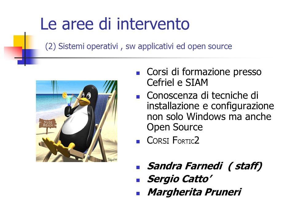 Le aree di intervento (2) Sistemi operativi , sw applicativi ed open source