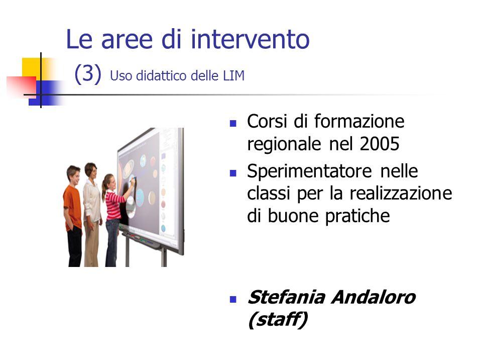 Le aree di intervento (3) Uso didattico delle LIM