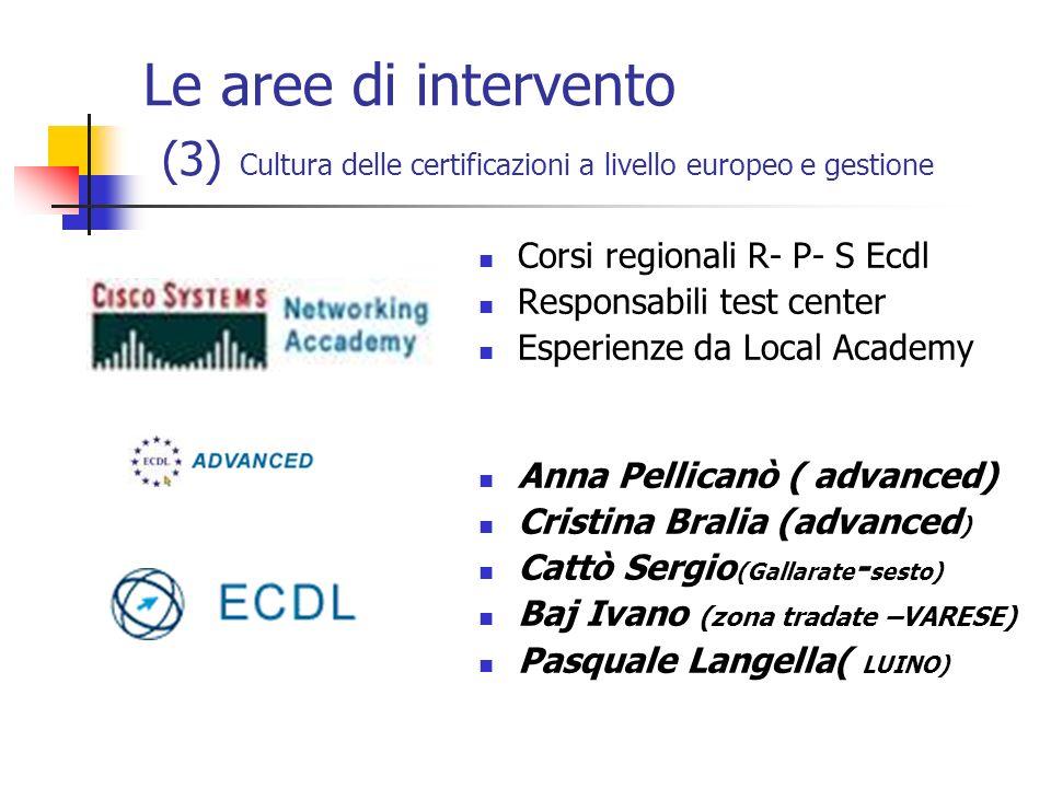 Le aree di intervento (3) Cultura delle certificazioni a livello europeo e gestione