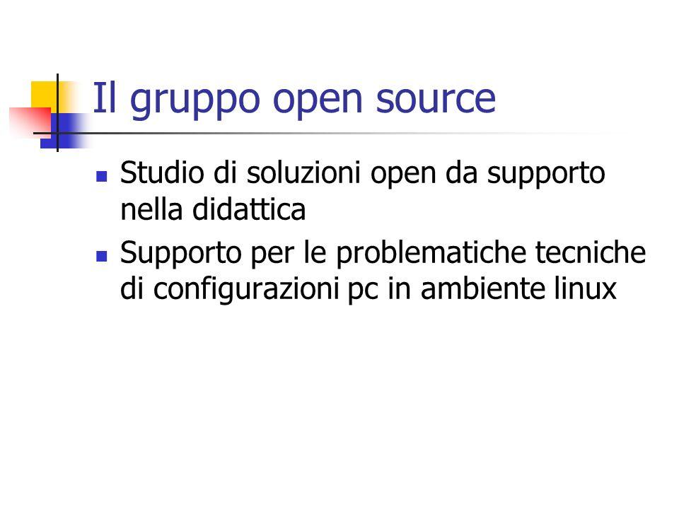 Il gruppo open source Studio di soluzioni open da supporto nella didattica.