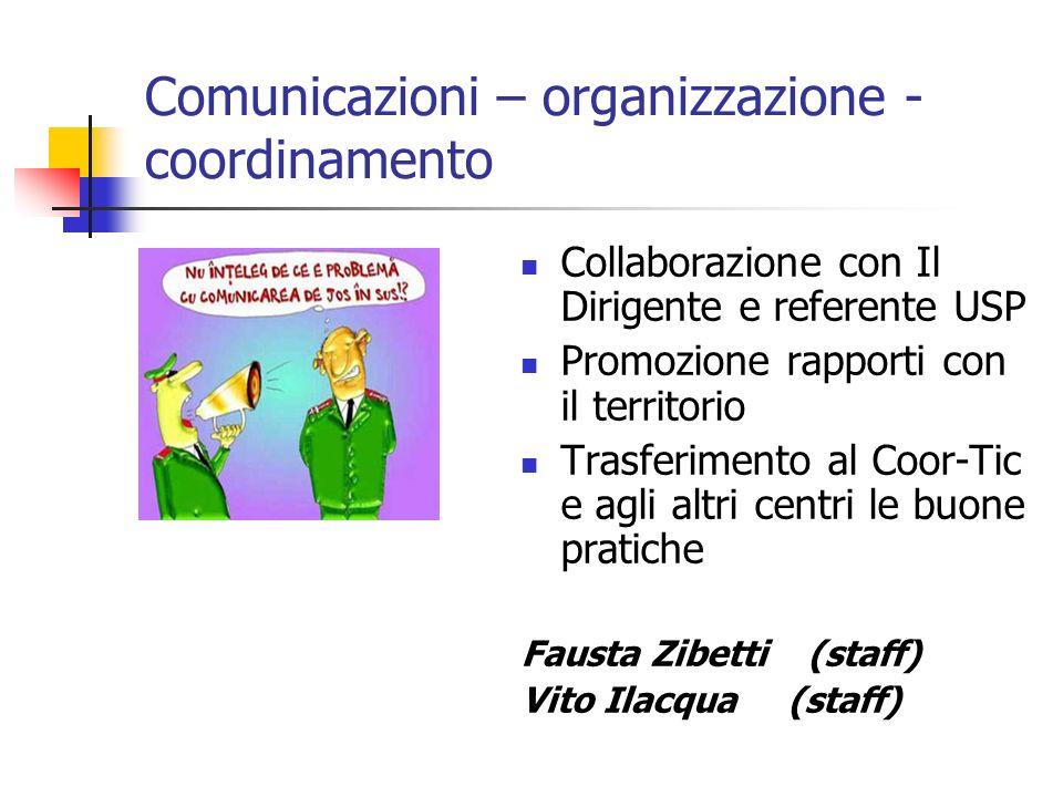 Comunicazioni – organizzazione - coordinamento